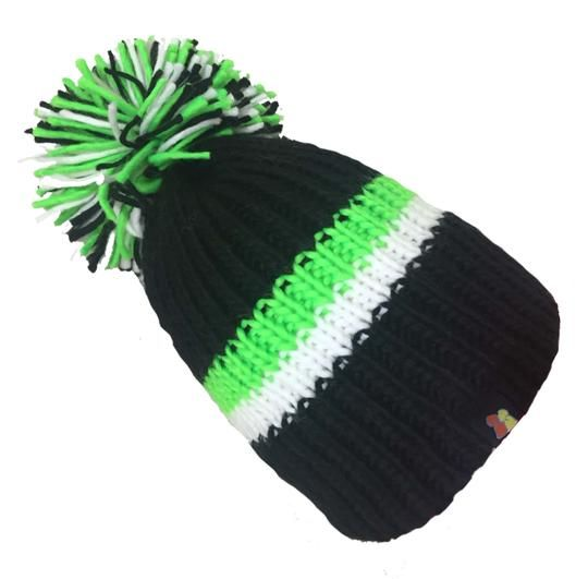 Big Bobble Hats - Bobble And Squeak - Black and Green Bobble Hat