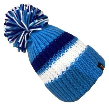 Big Bobble Hats - Light Blue, White and Blue Bobble Hat