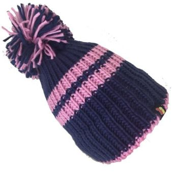Big Bobble Hats - Perky - Navy and Pink Bobble Hat