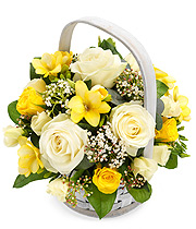 Yellow & White Basket.