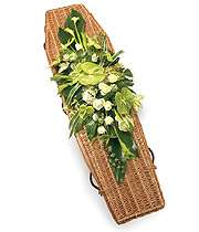 Green and White Coffin Spray