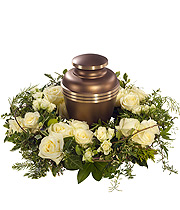White Rose Urn Wreath.