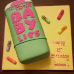 Baby Lips 'glow in the dark' birthday cake