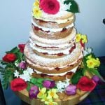 naked cake with spring flowers
