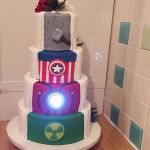 'Debbie' Heroes hidden reveal wedding cake, reveal side, light on