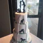Farmer themed sillouete wedding cake, hidden reveal