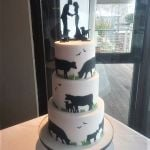 Farmer themed sillouete wedding cake