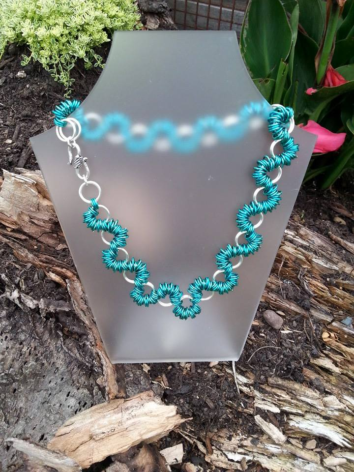 Choker style Copper coated Teal and Silver Plated Necklace