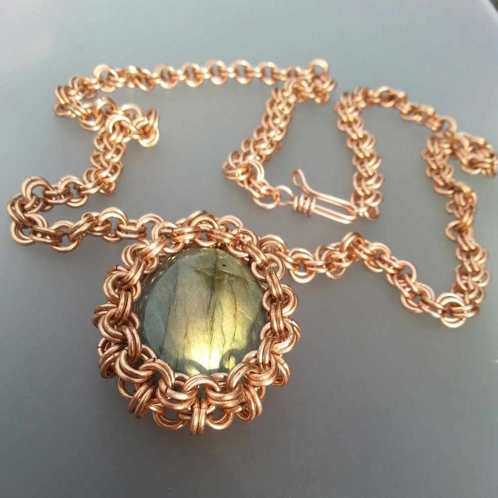 Solid Bronze with Labradorite Chainmaille Necklace