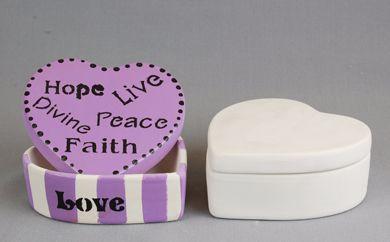 Bisque/Unpainted Ceramic Heart Trinket Box