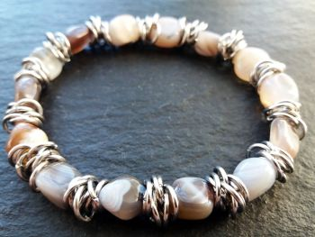 """""""Calm Collection""""  Botswana Agate and Stainless Steel Links"""