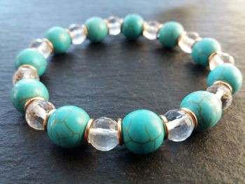"""""""Calm Collection""""  Clear Crystal Quartz, Turquoise and Solid Bronze Bracelet"""