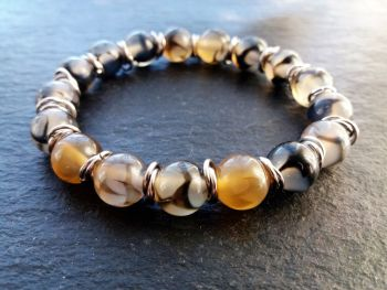 """""""Calm Collection"""" Dragon's Vein Agate with Stainless Steel links"""