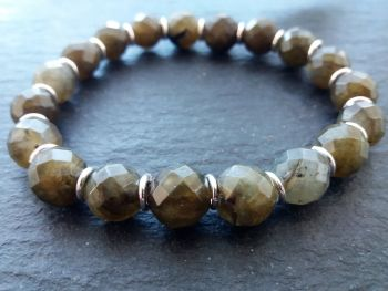 """""""Calm Collection"""" Labradorite and Sterling Silver Links Bracelet"""