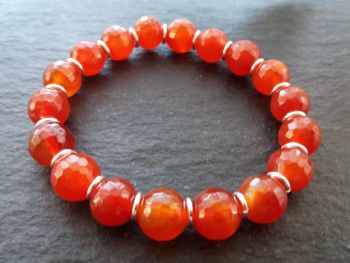 """""""Calm Collection""""  Carnelian and Sterling Silver Links Bracelet"""
