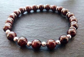 """""""Calm Collection"""" Garnet and Sterling Silver Bracelet"""