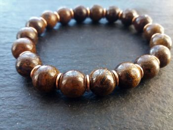 """""""Calm Collection""""  Bronzite and Solid Bronze Links Bracelet"""