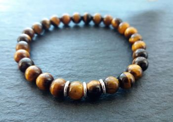 """""""Calm Collection"""" Tiger Eye and Sterling Silver Bracelet"""