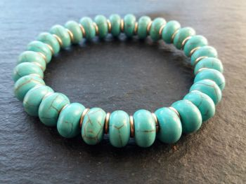 """""""Clam Collection"""" Turquoise and Pure Bronze Links Bracelet"""
