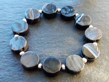 """""""Calm Collection """" Banded Agate Coins and Sterling Silver Bracelet"""