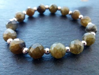 """""""Calm Collection"""" Labradorite and Sterling Silver Beads Bracelet"""
