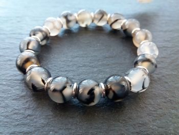 """""""Calm Collection"""" Dragon's Vein Agate and Sterling Silver Links Bracelet"""