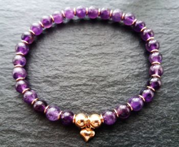 """""""Calm Collection""""Amethyst and Rose Gold Vermeil Charm Bracelet"""