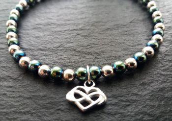 """Calm Collection"" Celtic Heart Charm Hematite, Stirling Silver Bracelet"