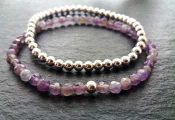 """""""Calm Collection"""" Sterling Silver and Amethyst Stacking Bracelets"""