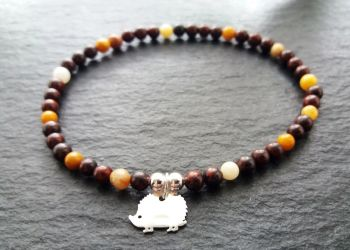 """""""Calm Collection""""  Sterling Silver Hedgehog and Mookaite Stacking Bracelet"""