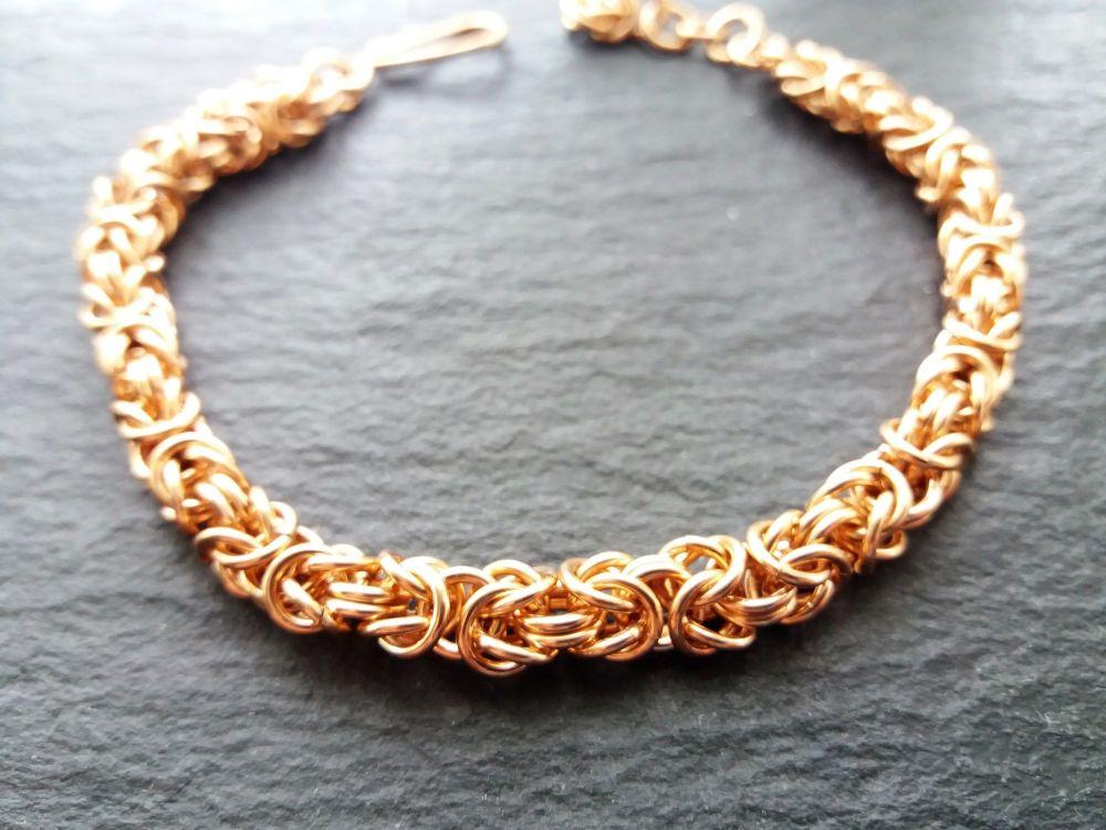 Solid Bronze Byzantine Bracelet