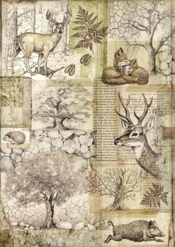 A4 Rice paper  Forest Deer and wild boar