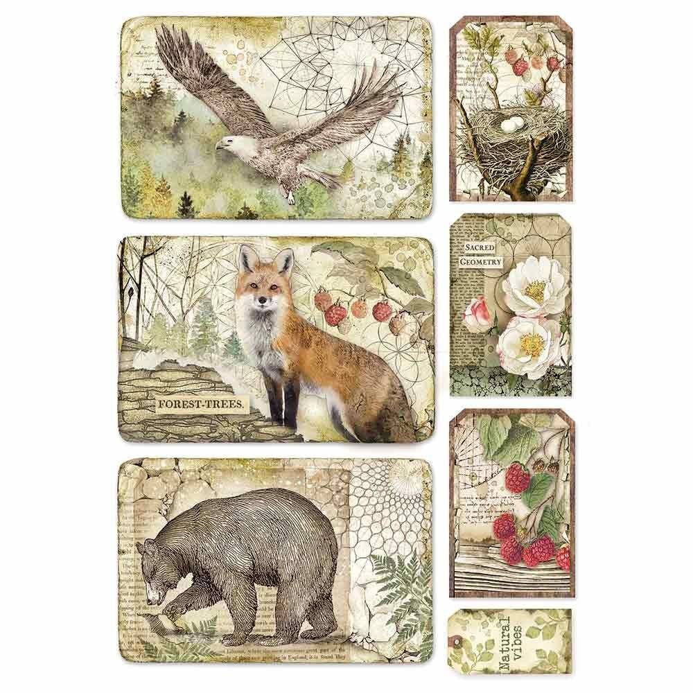 A4 Rice paper packed Forest framed eagle, bear, fox