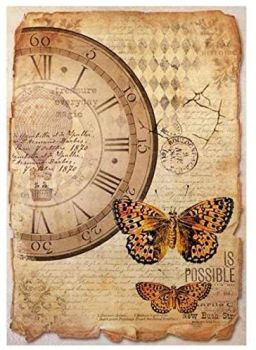A4 rice paper Mix Media Clock and butterfly