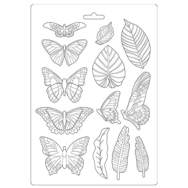 Soft Mould A4 - Amazonia leaves and butterflies