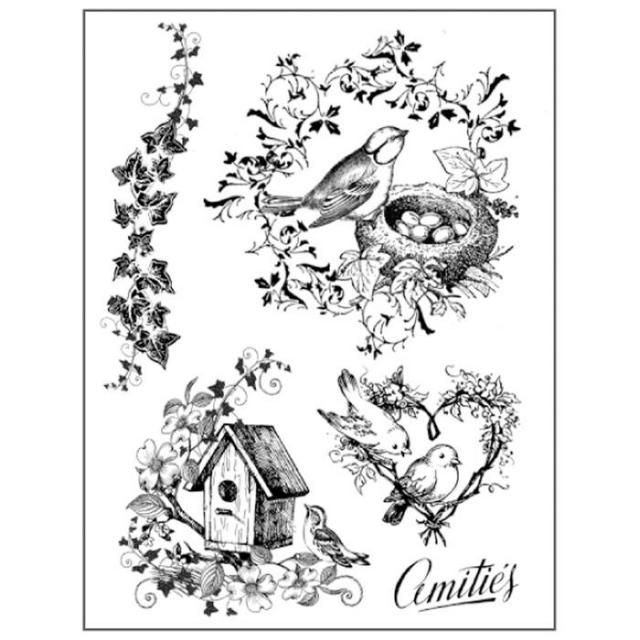 HD Natural Rubber Stamp cm.14x18 Nests