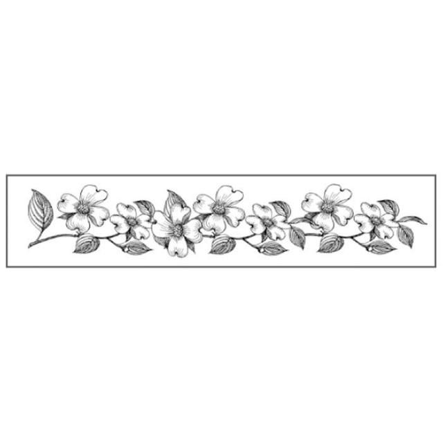 HD Natural Rubber Stamp cm.4x18 Flowers bordure