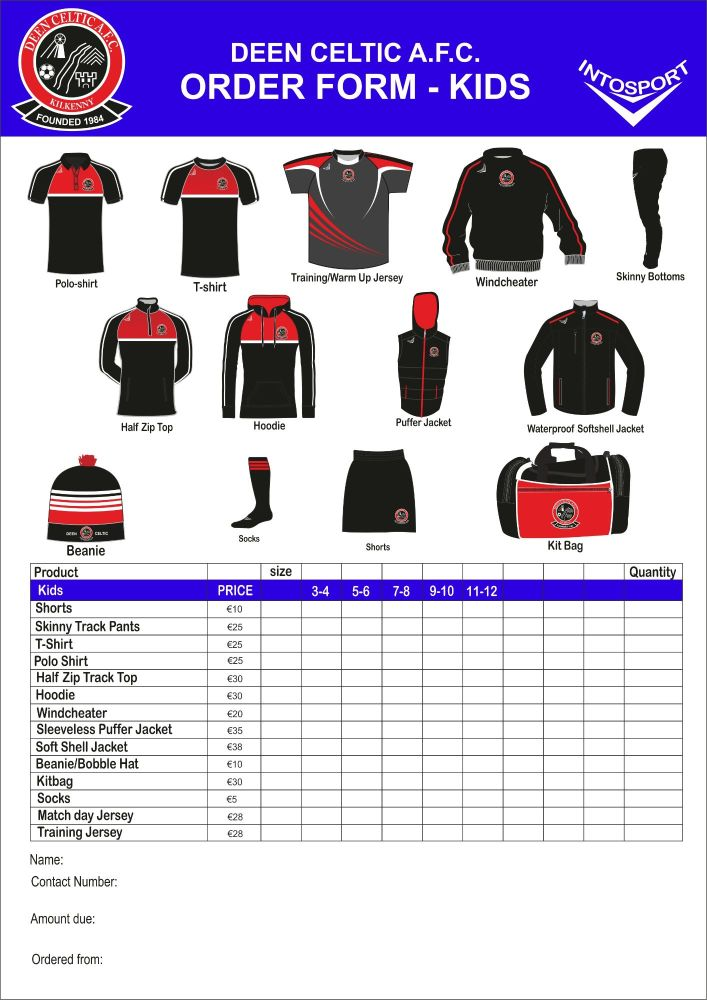 DEEN CELTIC RANGE 2016 ORDER FORM KIDS