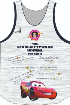 Searlait Tywang Memorial Road Run Singlet White/Silver/Navy