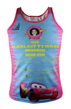 Searlait Tywang Memorial Road Run Singlet Cyan Melange/Flo Pink