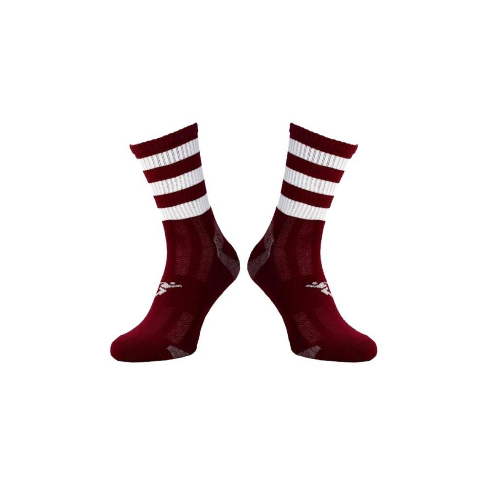 Maroon / White Midi Socks