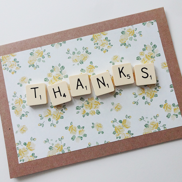 scrabble letter thank you card