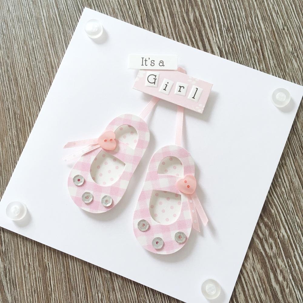 Personalised baby girl card
