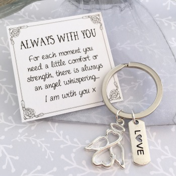 Guardian angel charm keyring
