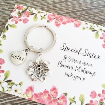 Sister flower charm keyring