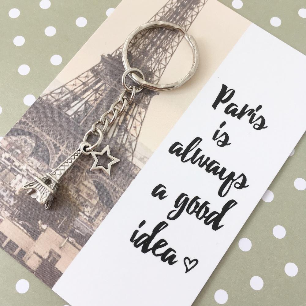 Love Paris charm keyring