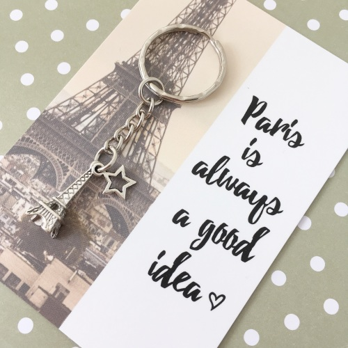 Love Paris charm keyring