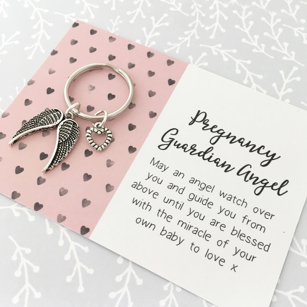 Pregnancy guardian angel wing keyring