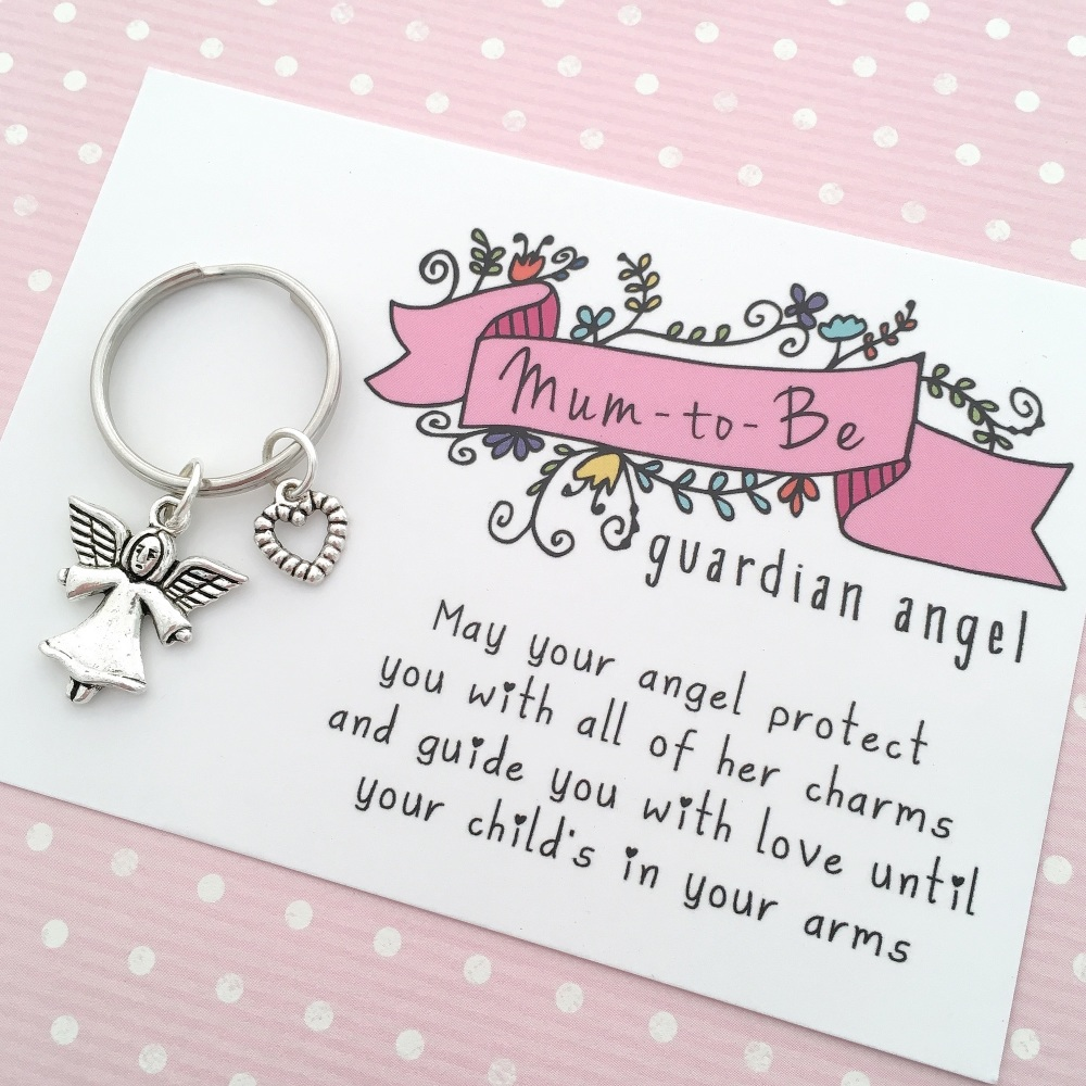 Mum-to-be guardian angel keyring