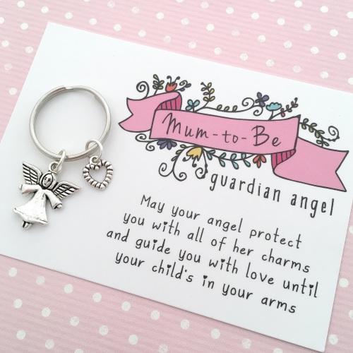 Mum-to-be guardian angel keyring